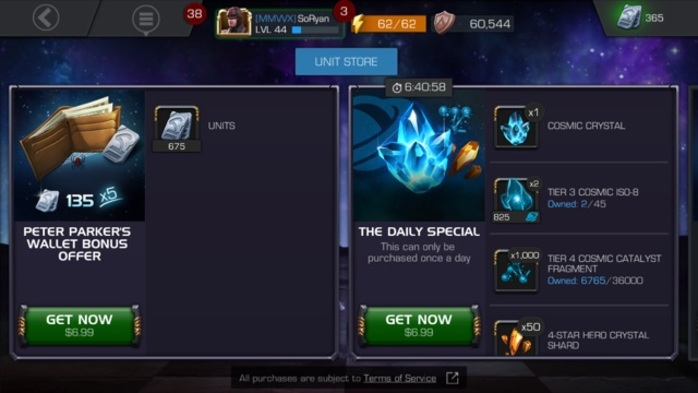 Marvel Contest of Champions Store